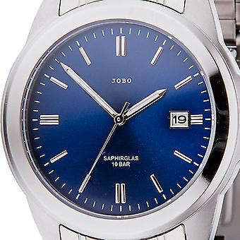 JOBO men's wristwatch quartz analog stainless steel of sapphire blue dial