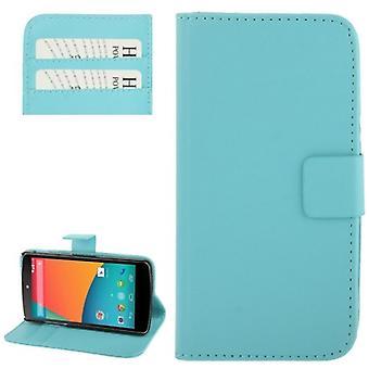 Handyhülle Horizontal Flip mit Credit Card Slots für LG Google Nexus 5 / E980 Hellblau