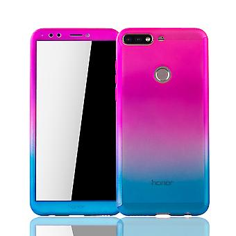 Huawei honor 7C case protective case Fullcover tank protection glass pink / blue