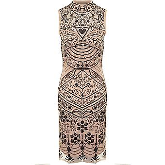 Ladies Sleeveless Mesh Insert Paisley Beaded Sequin Lined Bodycon Shift Dress