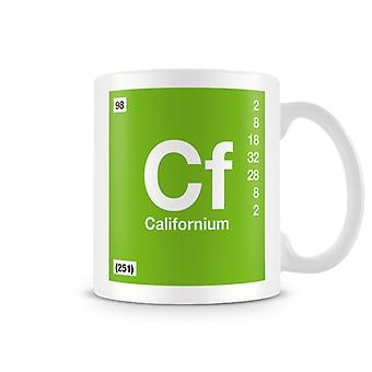 Scientific Printed Mug Featuring Element Symbol 098 Californium