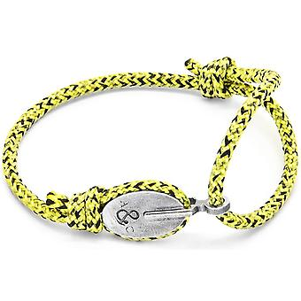 Anchor and Crew London Silver and Rope Bracelet - Yellow Noir