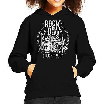 Rock Is Dead Burning Drum Kit Kid's Hooded Sweatshirt