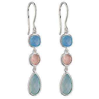Elements Silver Fancy Chalcedony Earrings - Blue/Pink/Green