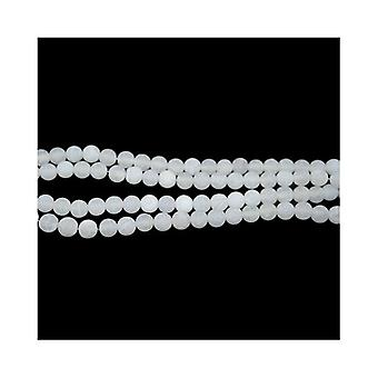 Strand 60+ White Cracked Agate 6mm Frosted Plain Round Beads CB32530-2