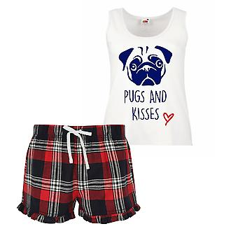 Pugs And Kisses Ladies Tartan Frill Short Pyjama Set Red Blue or Green Blue