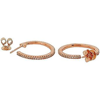 TOC Rose-Goldtone Sterling Silber CZ Set kreolische Creolen 20mm