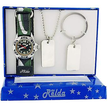 Relda Boys-Kids Khaki Camouflage Watch, Dog Tag Pendant & Keyring Gift Set REL51