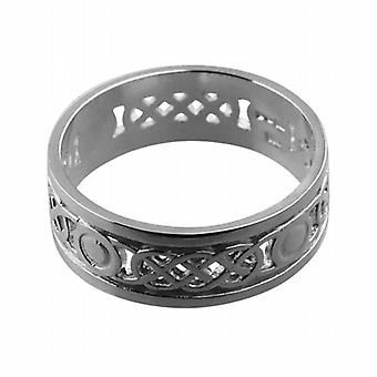 9ct White Gold 8mm pierced Celtic Wedding Ring Size R