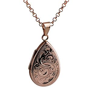 9ct Rose Gold 28x19mm engraved flat teardrop Locket with belcher Chain 16 inches Only Suitable for Children