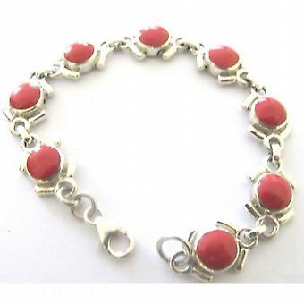 Coral Stone Sterling Silver 92.5 Bracelet
