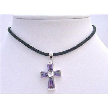 Cross Jewelry Necklace Amethyst Cross Pendant Vintage Pendant