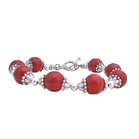 Coral Faceted Bracelet w/ Bali Silver Trendy Bracelet