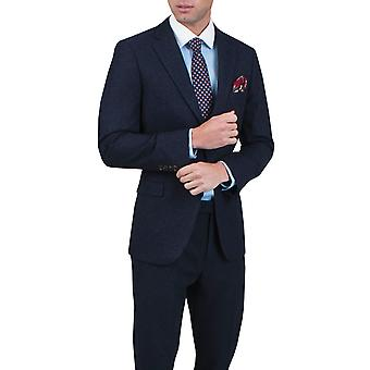 Dobell Mens Navy Donegal Tweed Jacket Regular Fit Notch Lapel