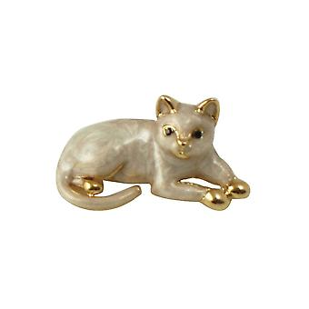 Eternal Collection Jesse Pearlised Enamel Gold Tone Cat Brooch