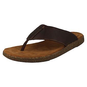 Mens Clarks Toe Post Sandals Vine Oak