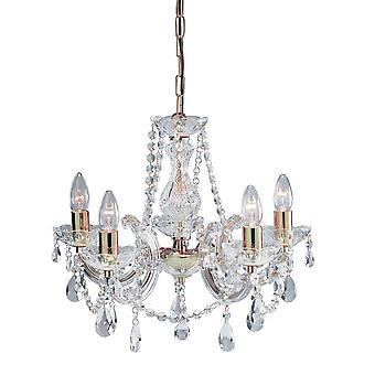5 światło polerowanego mosiądzu montażu Marie Therese Crystal - Searchlight 699-5