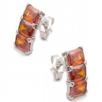 Jsuk Sterling Silver Triple Square Drop Garnet Earrings