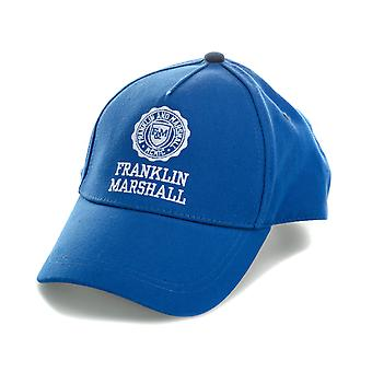 Mens Franklin And Marshall Logo Cap In Blue- Curved Brim- Button To Top-