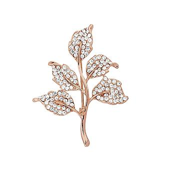 Eternal Collection Autumn Glow Clear Crystal Rose Gold Leaf Brooch