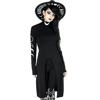 Restyle - túnica dividida - vestido de cuello de tortuga gótico negro