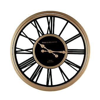 Black and Rose Gold Finish Metal Open Frame Round Wall Clock 20 Inch