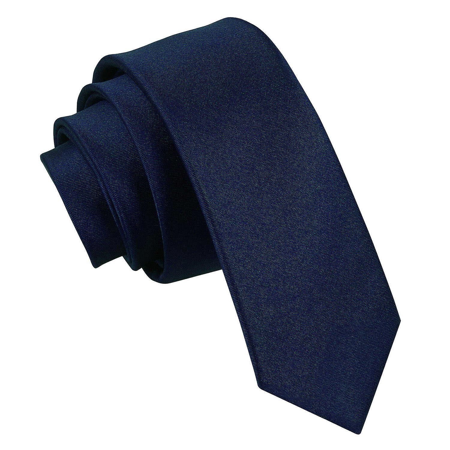 Plain Navy Blue Satin Skinny Tie