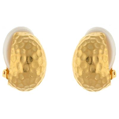 Kenneth Jay Lane Satin Gold Plated Hammered Semi Hoop Clip On Earrings