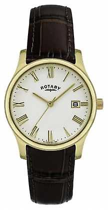 Rotary Mens Gold Plated Leather Strap GSI0794/32 Watch