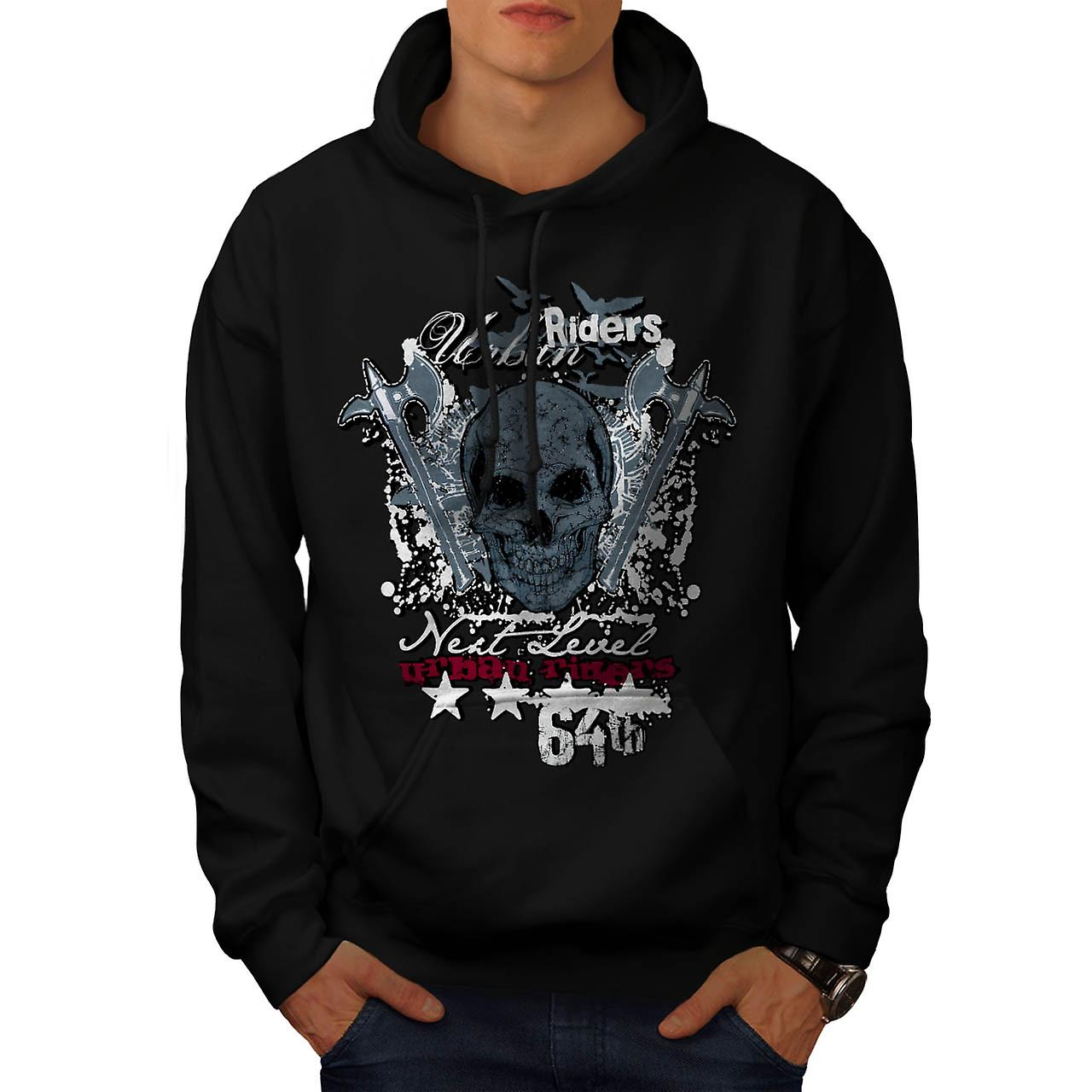 Urban Riders Skull Biker Men Black Hoodie | Wellcoda