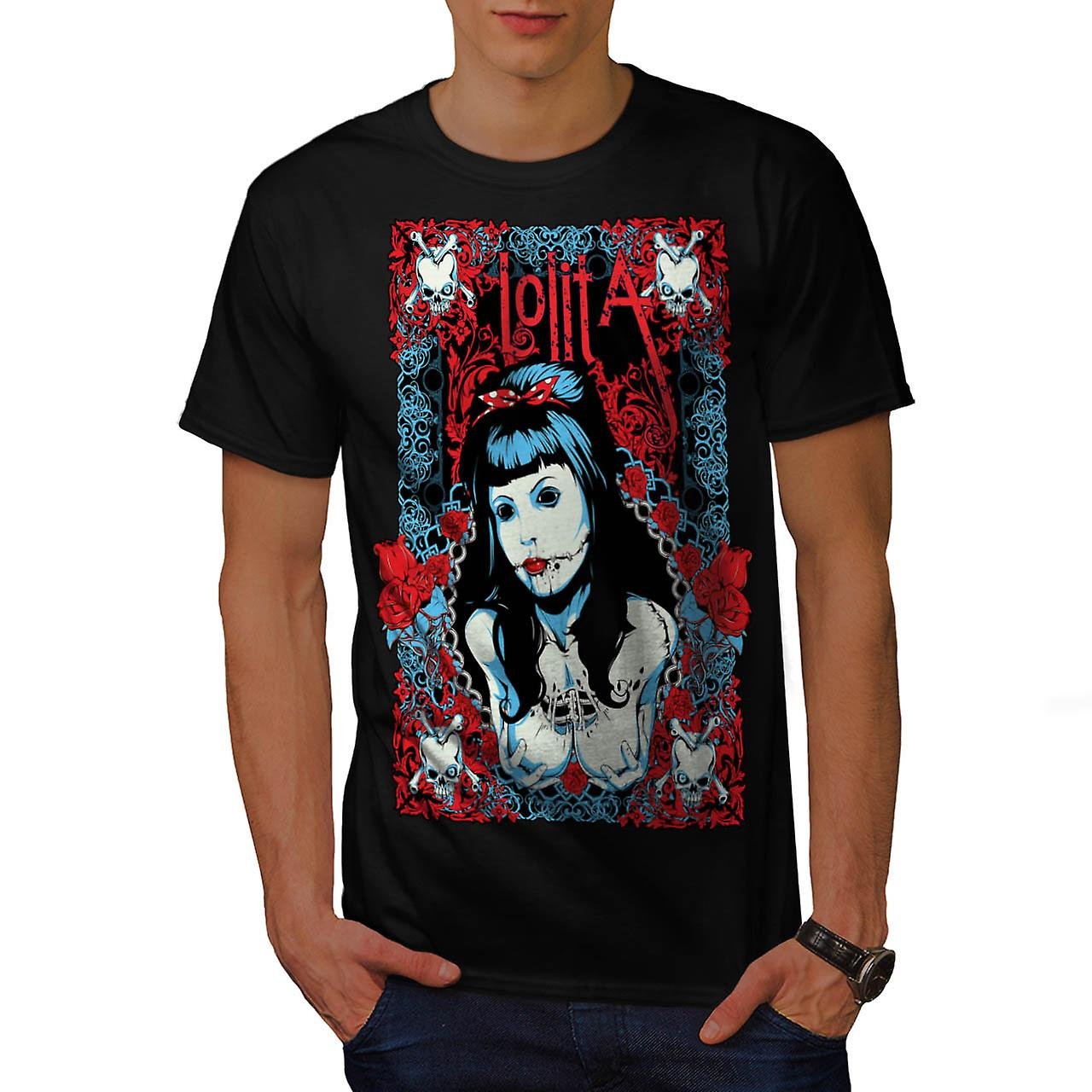 Lolita Gothic Model Inked Girl Men Black T-shirt | Wellcoda