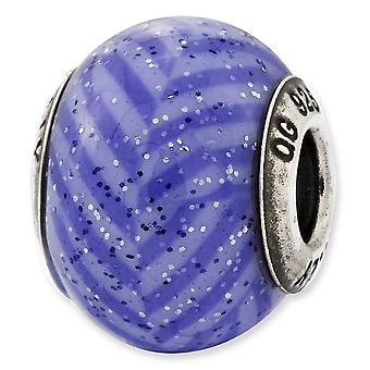 Sterling Silver Reflections Italian Purple Stripes With Glitter Glass Bead Charm