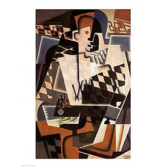 Harlequin with a Guitar 1917 Poster Print by Juan Gris