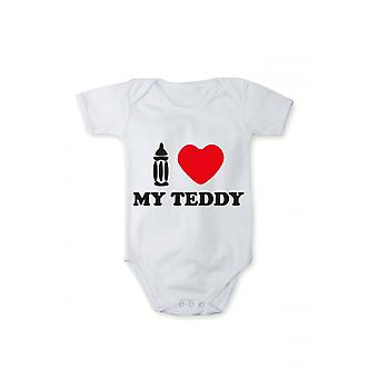 T-shirt with print baby body I love Teddy in different languages