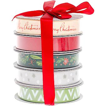 American Crafts Ribbon 3yd Each 5/Pkg-Christmas 340658
