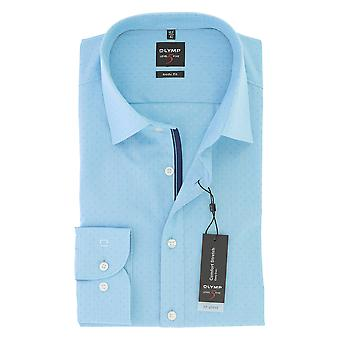 Olympus mens business shirt level 5 turquoise body fit New York Kent comfort stretch GR 38