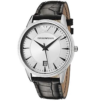 Emporio Armani AR2442 Stainless Steel Silver Dial Black Leather Strap Watch
