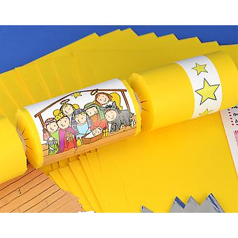 8 Bright Yellow Kids Nativity Make Your Own Christmas Crackers Kit