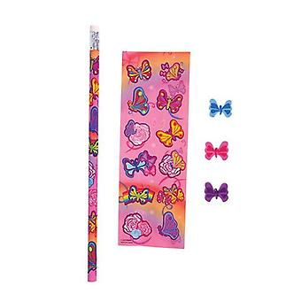 Butterfly Sticker and stationary set