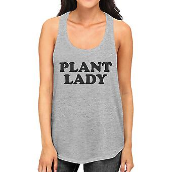 Plant Lady Grey Racerback Tank For Women Gift Idea For Plant Lovers