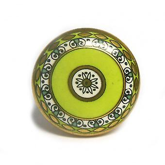 Green and Gold Ceramic Cupboard Knob