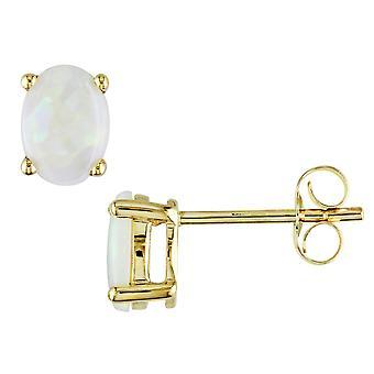 Created Opal 9/10 Carat (ctw) Stud Earrings in 10K Yellow Gold