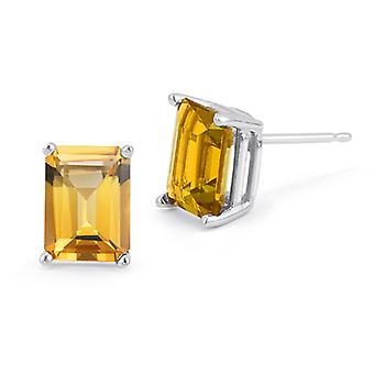 3.40 Carat Emerald-Cut Citrine Stud Earrings in 14K White Gold