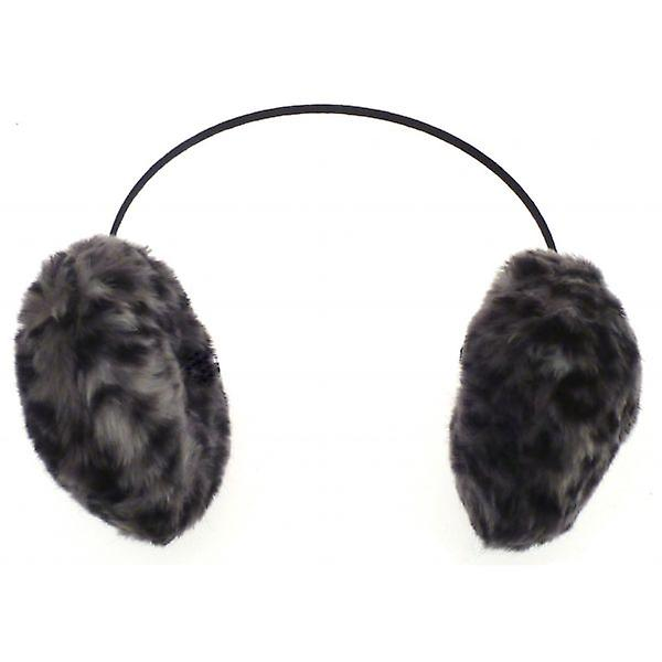 W.A.T Grey Leopard Print Faux Fur Furry Ear Muffs