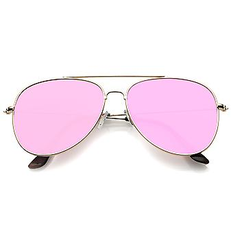 Classic Metal Slim Temple Super Flat Colored Mirror Lens Aviator Sunglasses 58mm