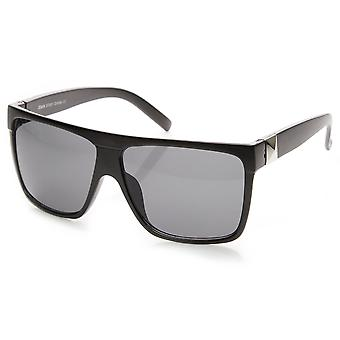 Black retrô grande quadrado de óculos de sol aviador Flat Top