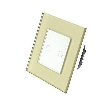 I LumoS Gold Glass Frame 2 Gang 1 Way Touch Dimmer LED Light Switch White Insert