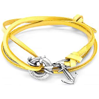 Anchor and Crew Clyde Silver and Leather Bracelet - Mustard Yellow