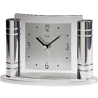 AMS table clock quartz watch silver tone metal case with mineral glass columns