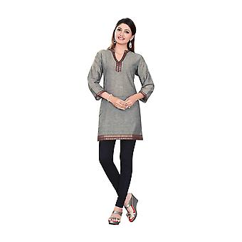 Gray 3/4 sleeve Indian Cotton Kurti/Tunic with Golden neckline